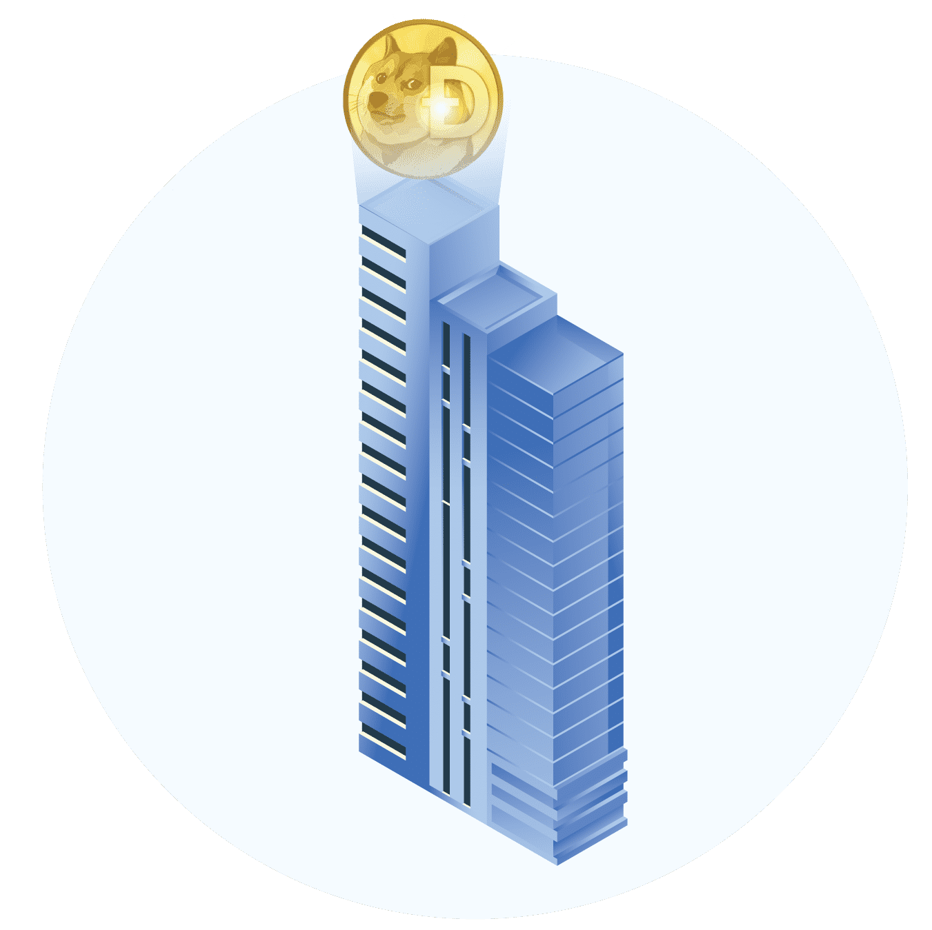skyscraper with dogecoin